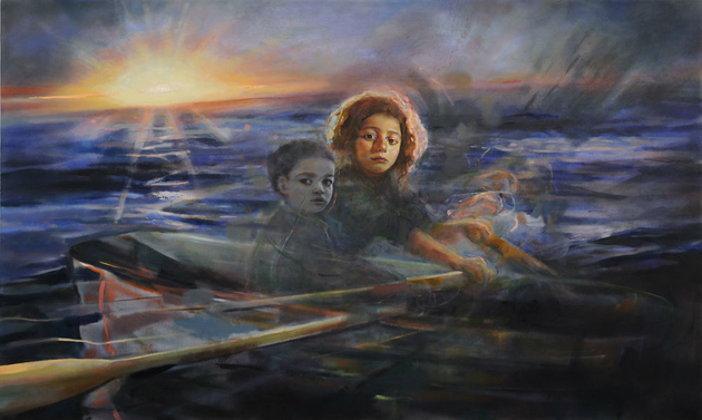 Children at Sea, oil on canvas, 36