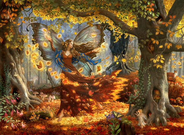 Fall Faerie. Oils on Canvas 24x36