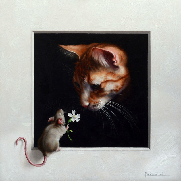 mouse giving a cat a flower