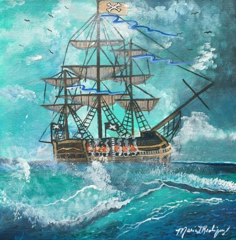 Maria Rodriguez. Sailing the Seas. Acrylic, 2019.