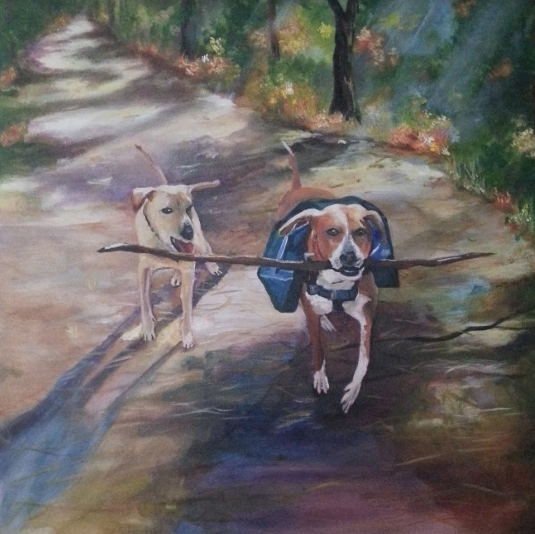 Julie Fisher. Zena and Zander in the Woods. Oil on canvas, 2016.