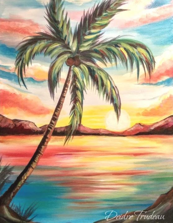 Deidre Trudeau. Palm Sunset. Acrylic on canvas, 2018.