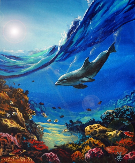 underwater painting with dolphin, under the sea, acrylic ocean painting, marco aguilar