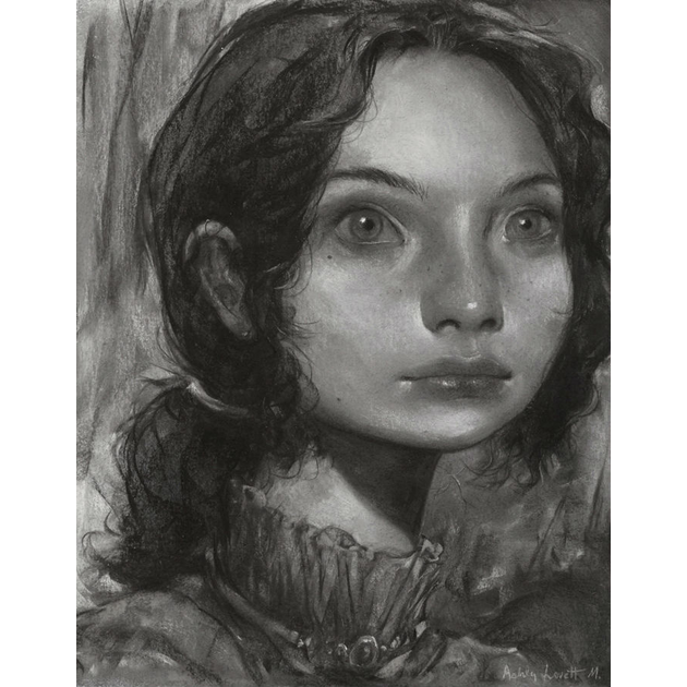 black and white pastel painting of a girl, portrait