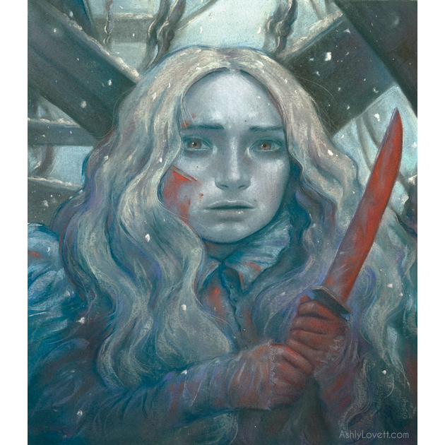 pastel painting of a girl with knife