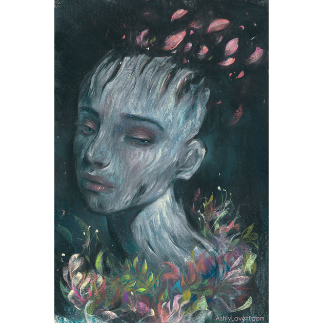 pastel painting of a girl with a dark background