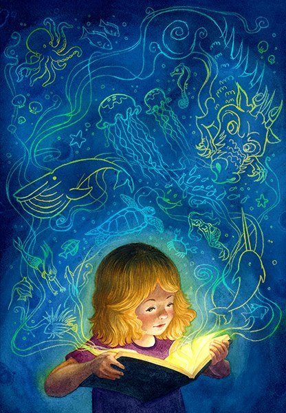 blue watercolor painting, little girl reading a book