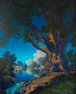 Maxfield Parrish. Janion's Maple (Under Summer Skies).  Oil on board, 23 x 18 ½ in.