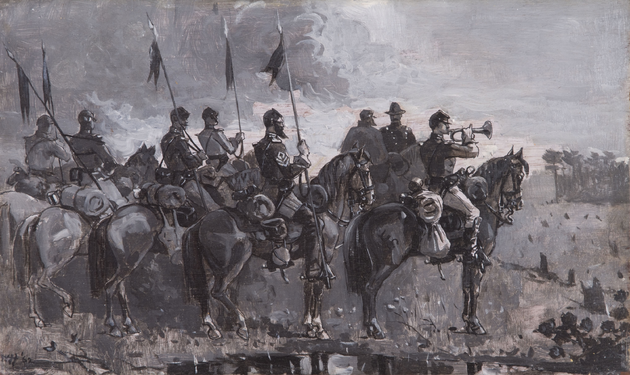 Winslow Homer. Rush's Lancers, 1886. Oil on panel on grisaille, 9 x 15 in., From the Mort and Deborah Künstler Collection