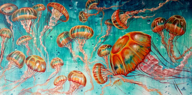 underwater painting with jellyfish, jelly fish painting, dancing jellyfish