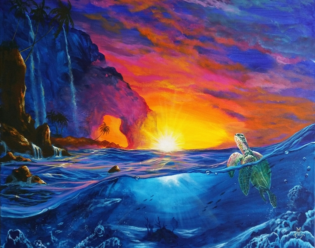 Marco Aguilar, Ocean painting with bright colors, turtle in the ocean, sunset on the water